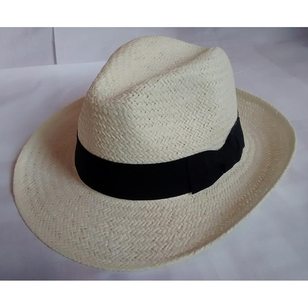 Straw hat - Fedora with black band